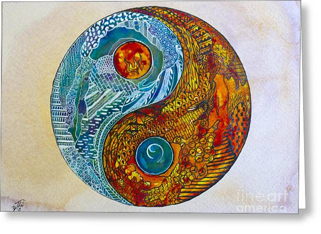 Greeting Card featuring the painting Yinyang  by Suzette Kallen