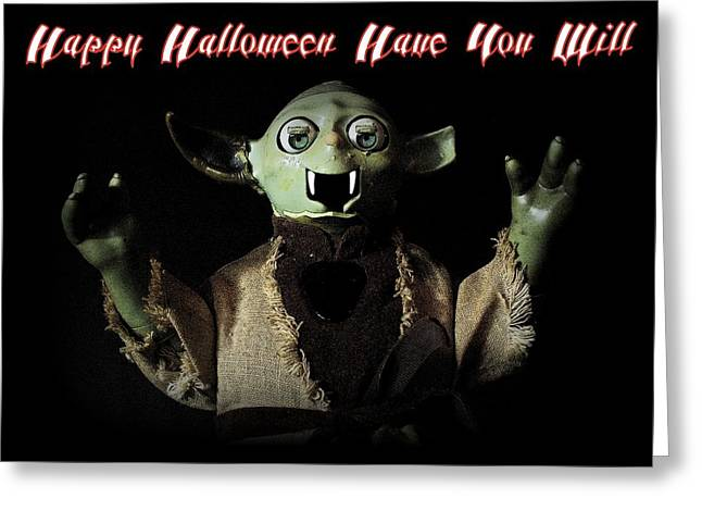 Yoda Halloween Card Greeting Card by Piggy