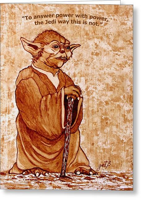 Greeting Card featuring the painting Yoda Wisdom Original Coffee Painting by Georgeta Blanaru