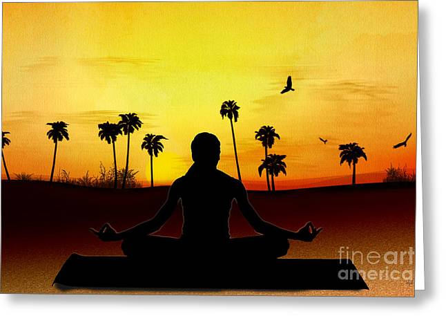 Yoga At Sunrise Greeting Card by Bedros Awak