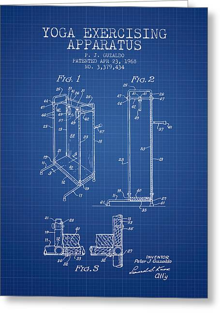 Yoga Exercising Apparatus Patent From 1968 - Blueprint Greeting Card by Aged Pixel