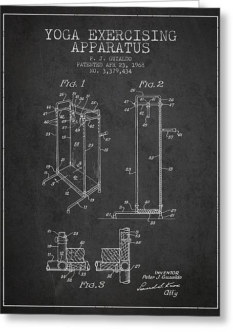 Yoga Exercising Apparatus Patent From 1968 - Charcoal Greeting Card by Aged Pixel