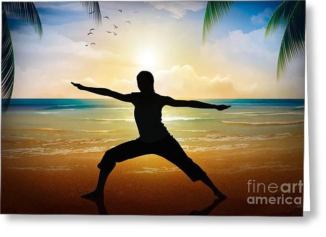 Yoga On Beach Greeting Card by Bedros Awak