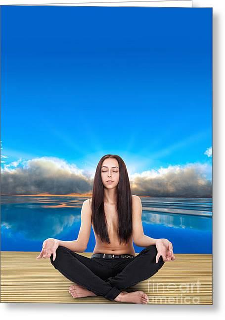 Yoga Pose Greeting Card by Aleksey Tugolukov