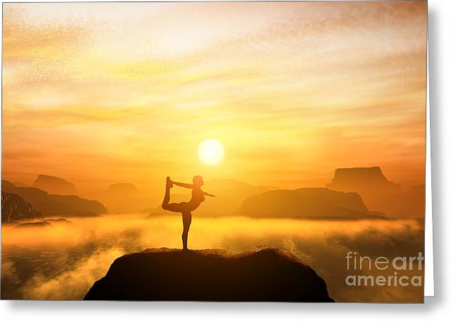 Yoga Position. Meditating In Mountains Greeting Card by Michal Bednarek