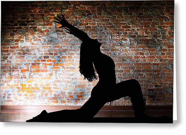 Yoga Silhouette 2 Greeting Card by Shannon Beck-Coatney