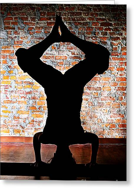 Yoga Silhouette 3 Greeting Card by Shannon Beck-Coatney