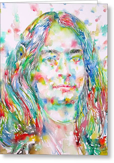 Yogananda - Watercolor Portrait Greeting Card by Fabrizio Cassetta