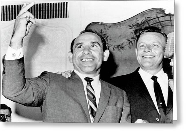 Yogi Berra Yankee Manager Greeting Card by Underwood Archives