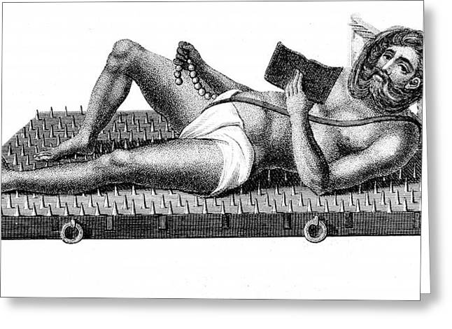 Yogi On A Bed Of Iron Spikes Greeting Card by Universal History Archive/uig