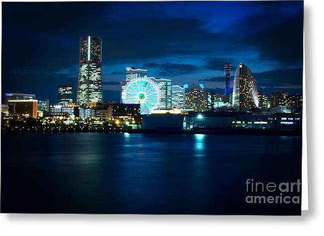 Yokohama Minatomirai At Night Greeting Card by Beverly Claire Kaiya