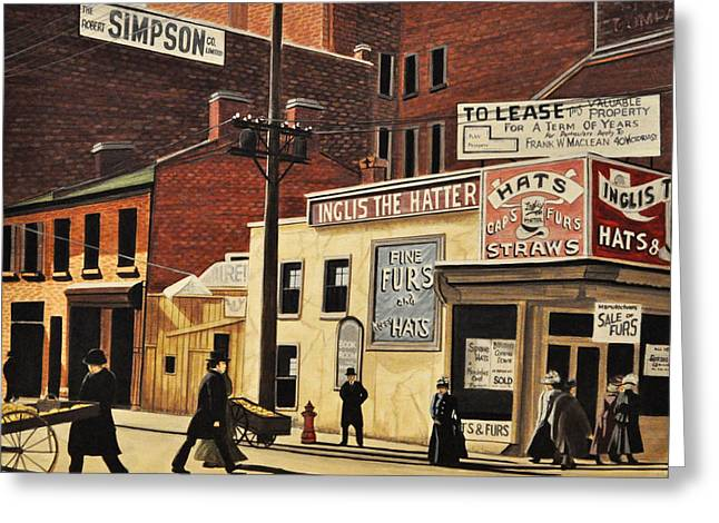 Greeting Card featuring the painting Yonge And Richmond Streets 1899 by Kenneth M  Kirsch