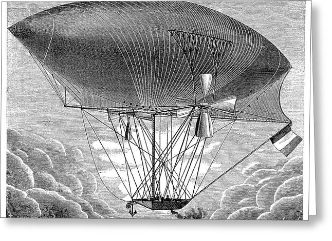 Yon's Steam Airship Design Greeting Card by Science Photo Library