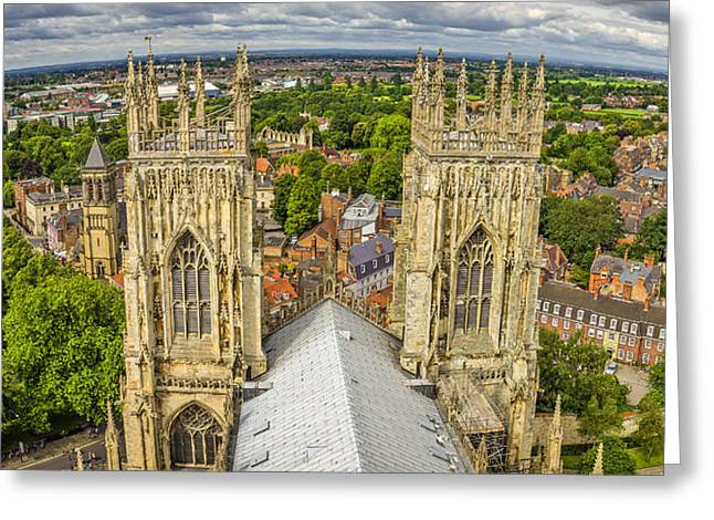 York From York Minster Tower Greeting Card