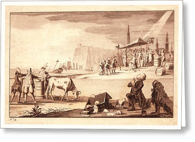 York Town, En Sanguine Engraving Shows America Receiving Greeting Card by French School