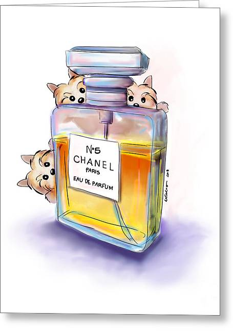 Yorkie Chanel Crazies Greeting Card