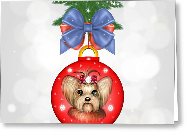 Yorkie Ornament Greeting Card by Catia Cho