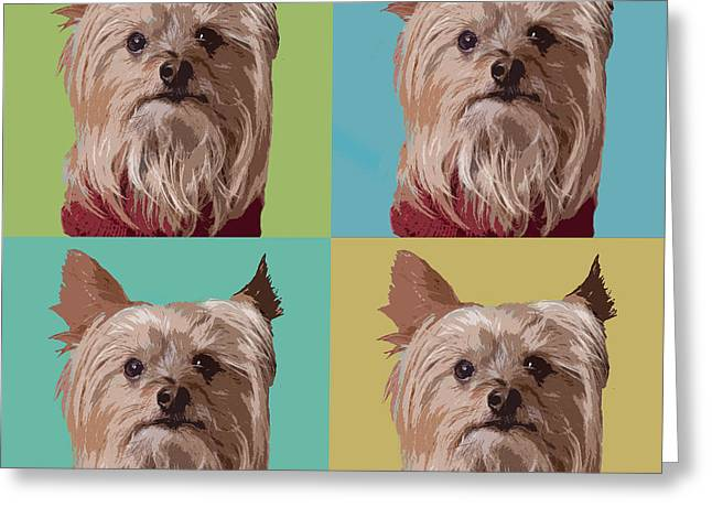 Yorkie Times Four Greeting Card