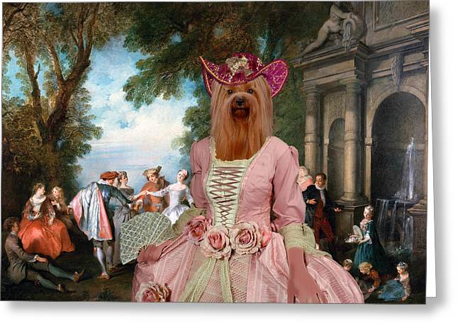 Yorkshire Terrier Art - Dancing At The Fountain Greeting Card