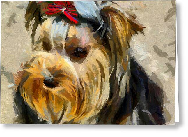 Greeting Card featuring the painting Yorkshire Terrier by Georgi Dimitrov