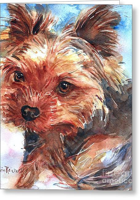 Yorkshire Terrier Greeting Card by Maria's Watercolor