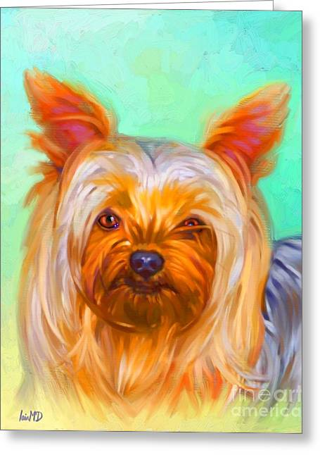 Yorkshire Terrier Painting Greeting Card by Iain McDonald