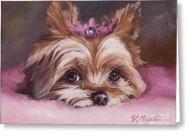 Yorkshire Terrier Princess In Pink Greeting Card