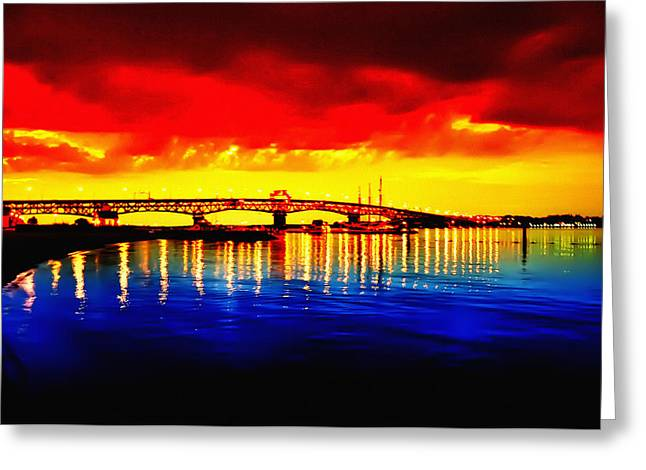 Yorktown Bridge Sunset Greeting Card