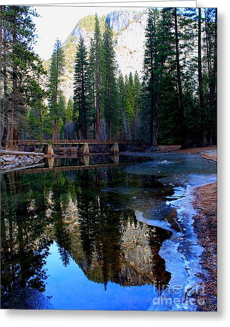 Yosemite Bridge Reflections Greeting Card