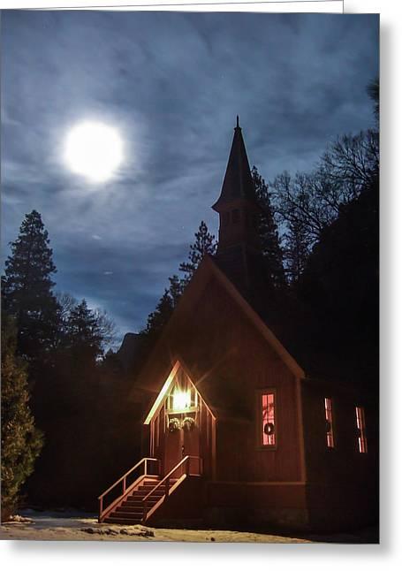 Yosemite Chapel Under A Full Moon Greeting Card