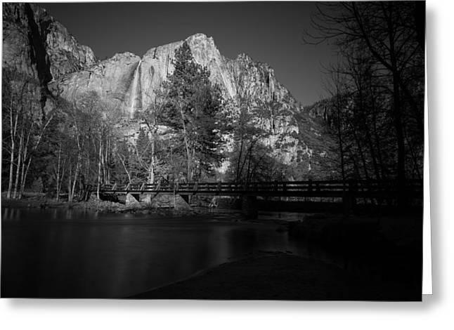 Yosemite Falls Along The Merced River Black And White Greeting Card by Scott McGuire