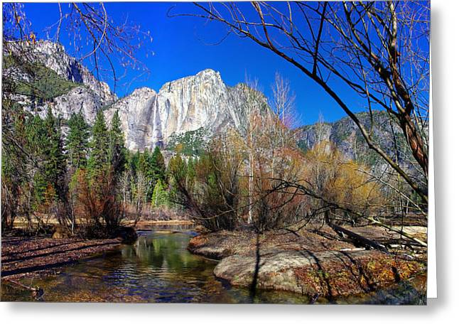 Yosemite Falls Along The Merced River Greeting Card by Scott McGuire