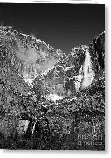 Yosemite Falls In Black And White II Greeting Card by Bill Gallagher
