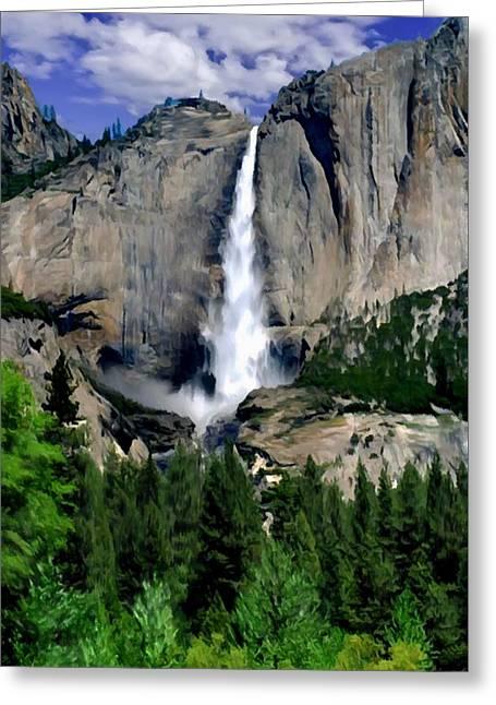 Yosemite Falls National Park Greeting Card by Bob and Nadine Johnston