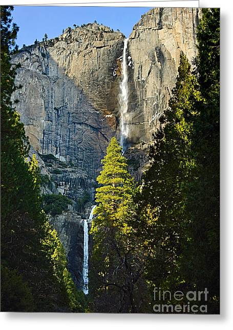 Yosemite Falls With Late Afternoon Light In Yosemite National Park. Greeting Card by Jamie Pham