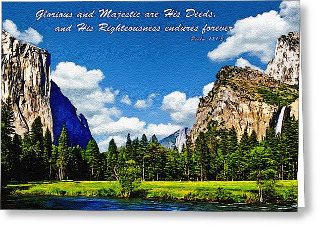 Yosemite Gods Country Greeting Card by Bob and Nadine Johnston