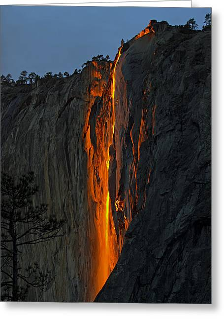 Yosemite Horsetail Falls Greeting Card by Duncan Selby