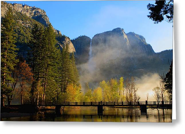 Yosemite River Mist Greeting Card by Duncan Selby