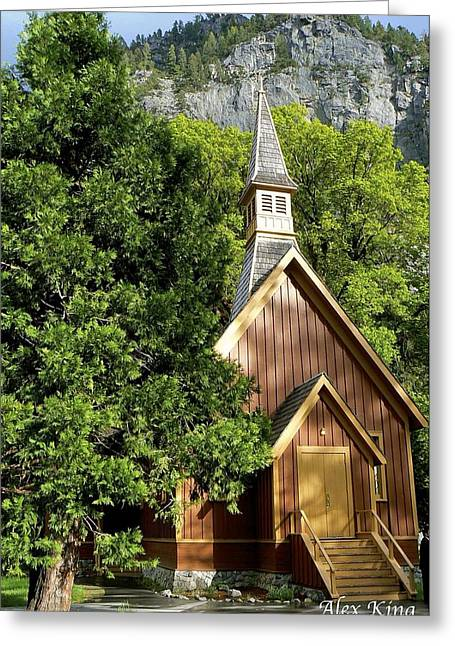 Yosemite Valley Chapel Greeting Card by Alex King