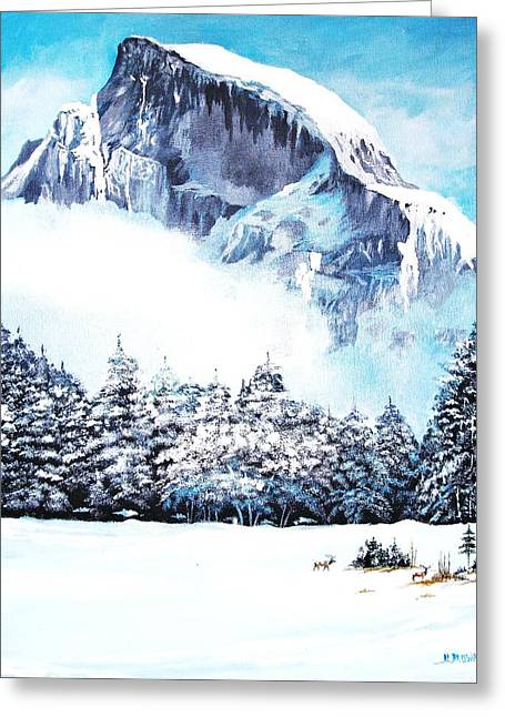 Greeting Card featuring the painting Yosemite Winter by Al Brown