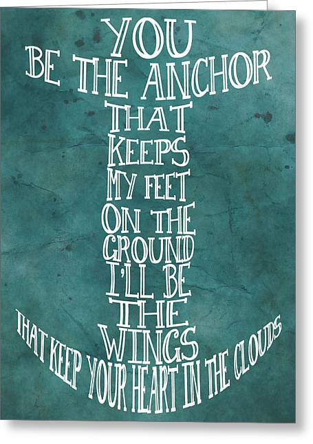 Greeting Card featuring the digital art You Be The Anchor by Jaime Friedman