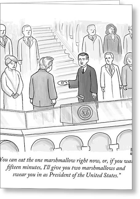 You Can Eat The One Marshmallow Right Now Greeting Card by Paul Noth