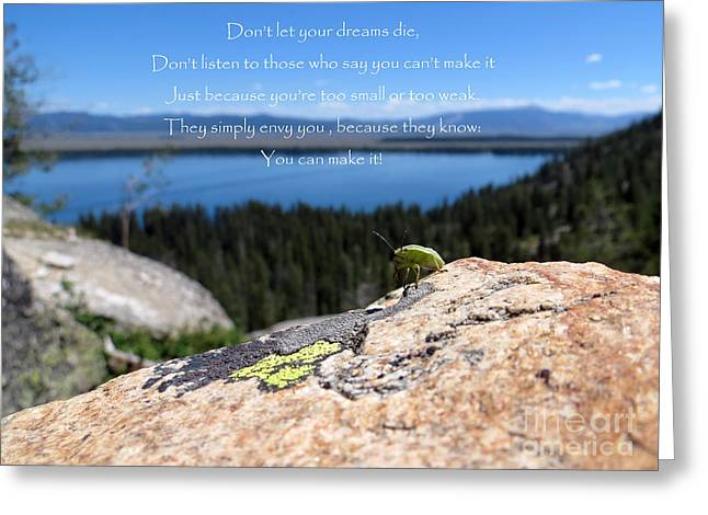 Greeting Card featuring the photograph You Can Make It. Inspiration Point by Ausra Huntington nee Paulauskaite
