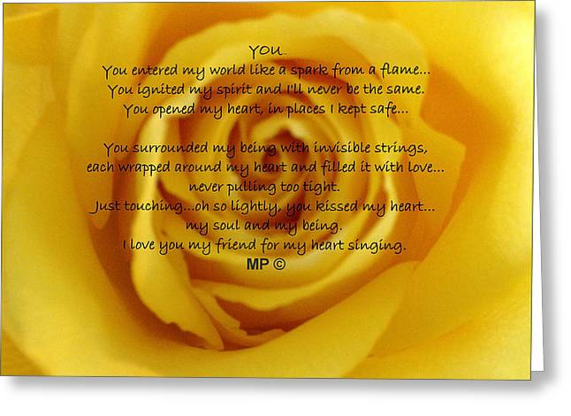 You Poem On Yellow Rose Greeting Card