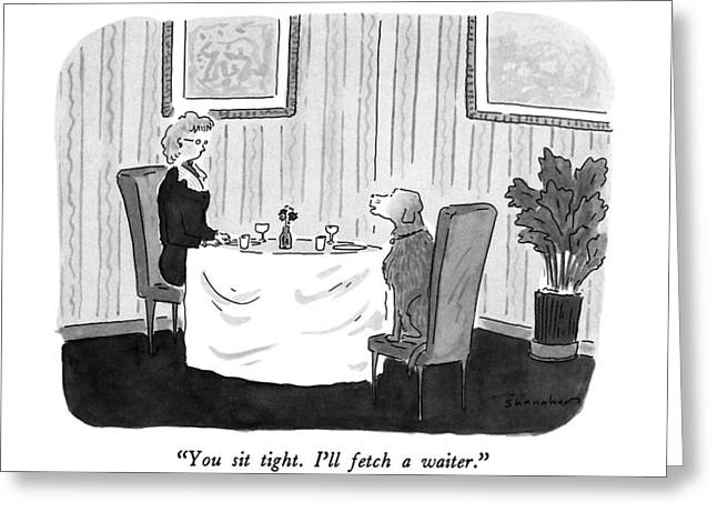 You Sit Tight.  I'll Fetch A Waiter Greeting Card by Danny Shanahan