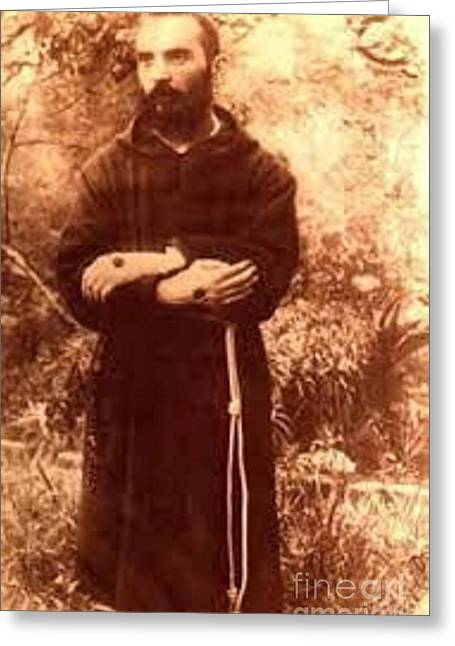 Youg Padre Pio Greeting Card by Archangelus Gallery