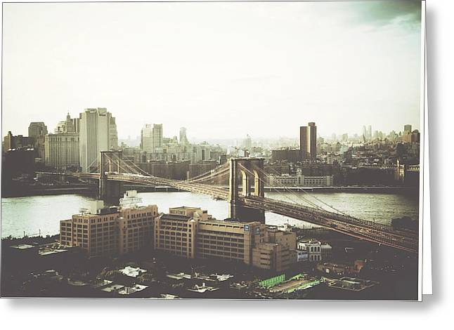 You'll Miss Her Most When You Roam ... Cause You'll Think Of Her And Think Of Home ... The Good Old Brooklyn Bridge Greeting Card by Natasha Marco