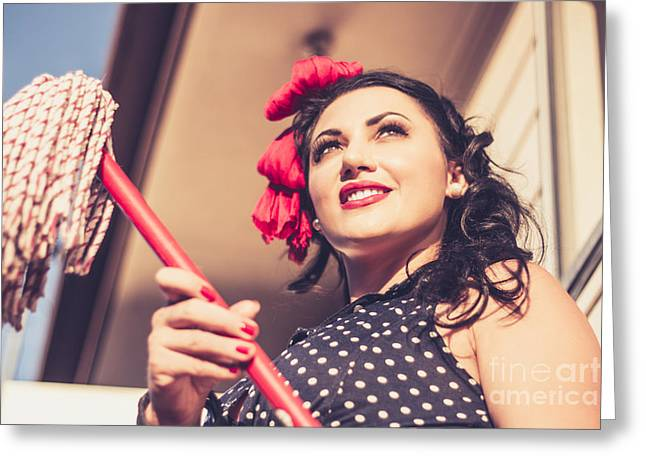 Young 50s Brunette Housewife Holding Red Mop Greeting Card