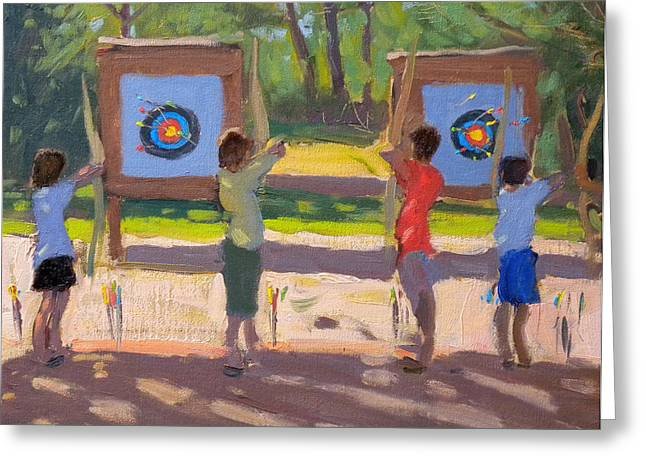 Young Archers Greeting Card by Andrew Macara