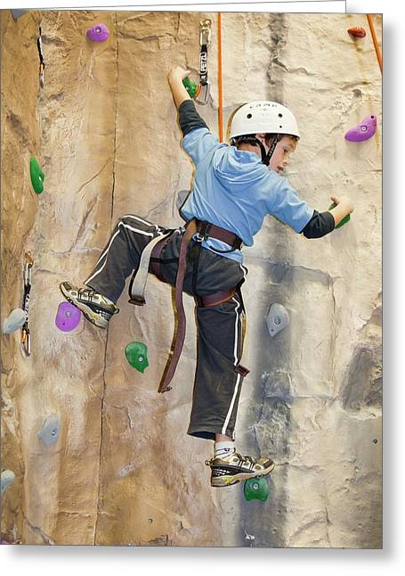 Young Boy On A Climbing Wall Greeting Card by Ashley Cooper